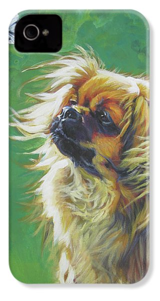 Tibetan Spaniel And Cabbage White Butterfly IPhone 4 / 4s Case by Lee Ann Shepard