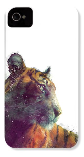Tiger // Solace - White Background IPhone 4 Case by Amy Hamilton