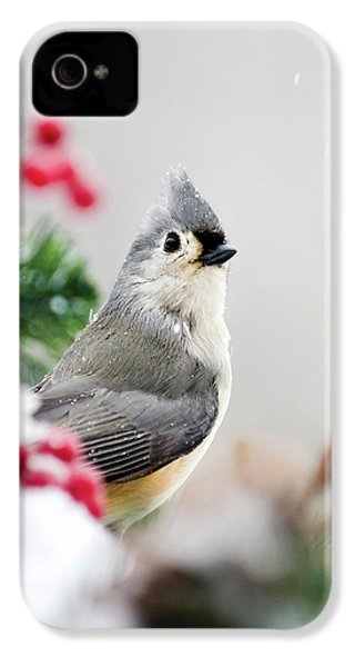 IPhone 4 Case featuring the photograph Titmouse Bird Portrait by Christina Rollo