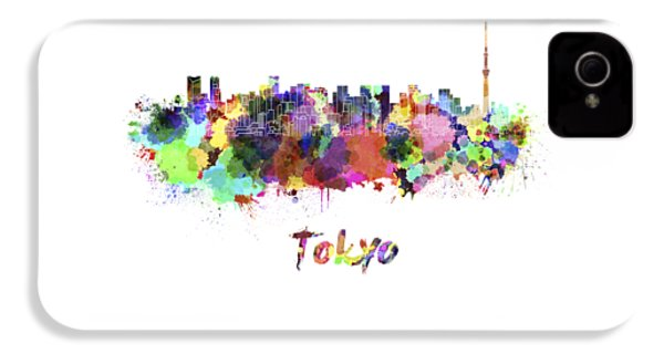Tokyo V2 Skyline In Watercolor IPhone 4 / 4s Case by Pablo Romero