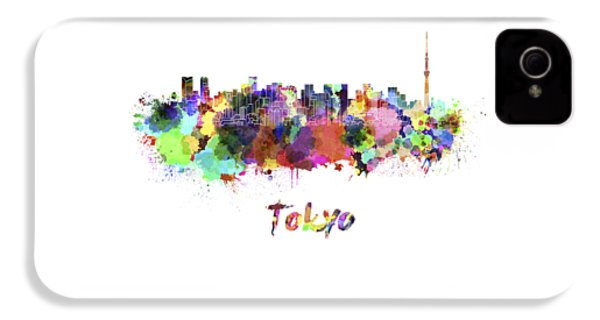 Tokyo V2 Skyline In Watercolor IPhone 4 Case by Pablo Romero