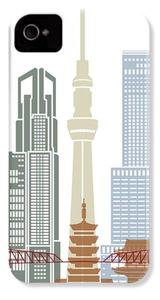 Tokyo V2 Skyline Poster IPhone 4 Case by Pablo Romero
