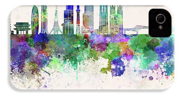 Tokyo V3 Skyline In Watercolor Background IPhone 4 / 4s Case by Pablo Romero