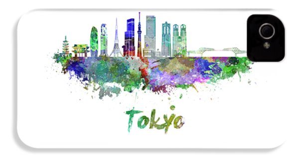 Tokyo V3 Skyline In Watercolor IPhone 4 Case by Pablo Romero