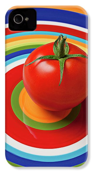 Tomato On Plate With Circles IPhone 4 Case by Garry Gay