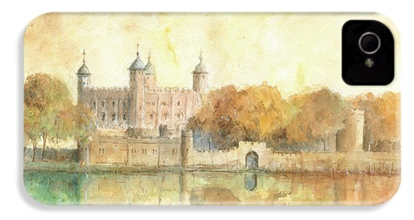 Tower Of London Watercolor IPhone 4 Case by Juan Bosco