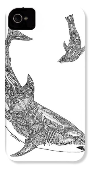 Tribal Great White And Sea Lion IPhone 4 / 4s Case by Carol Lynne