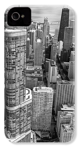 IPhone 4 Case featuring the photograph Trump Tower And John Hancock Aerial Black And White by Adam Romanowicz