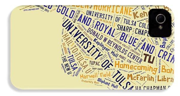 Tu Word Art University Of Tulsa IPhone 4 / 4s Case by Roberta Peake