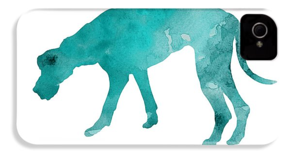 Turquoise Great Dane Watercolor Art Print Paitning IPhone 4 Case by Joanna Szmerdt