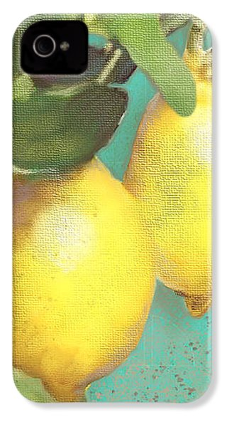 Tuscan Lemon Tree - Citrus Limonum Damask IPhone 4 Case by Audrey Jeanne Roberts