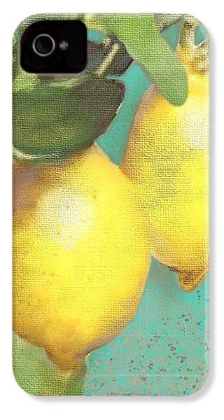 Tuscan Lemon Tree - Citrus Limonum Damask IPhone 4 Case by Audrey Jeanne Roberts