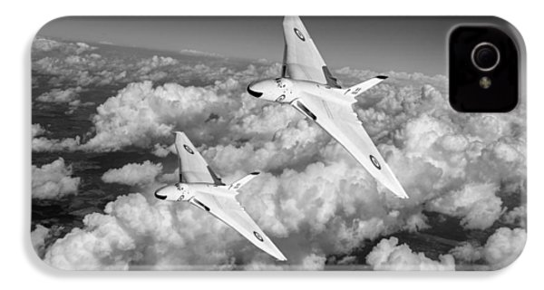 IPhone 4 Case featuring the photograph Two Avro Vulcan B1 Nuclear Bombers Bw Version by Gary Eason