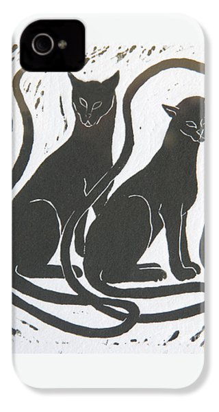 IPhone 4 Case featuring the drawing Two Black Felines by Nareeta Martin