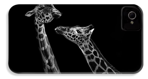 Two Giraffes In Black And White IPhone 4 Case