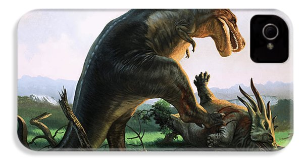 Tyrannosaurus Rex Eating A Styracosaurus IPhone 4 / 4s Case by William Francis Phillipps