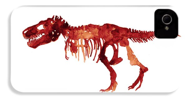 Tyrannosaurus Rex Skeleton Poster, T Rex Watercolor Painting, Red Orange Animal World Art Print IPhone 4 / 4s Case by Joanna Szmerdt