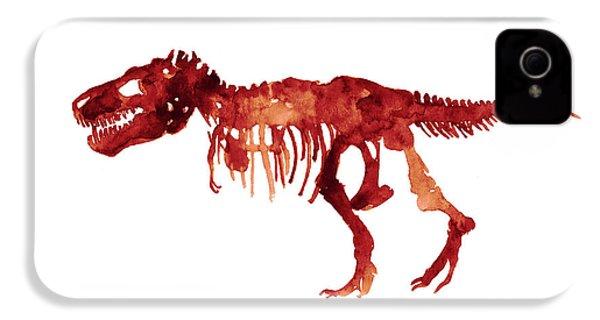 Tyrannosaurus Rex Skeleton Poster, T Rex Watercolor Painting, Red Orange Animal World Art Print IPhone 4 Case by Joanna Szmerdt
