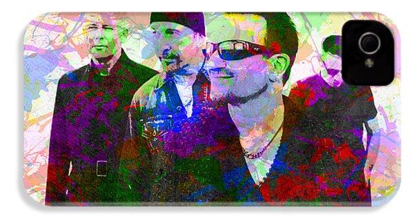 U2 Band Portrait Paint Splatters Pop Art IPhone 4 Case