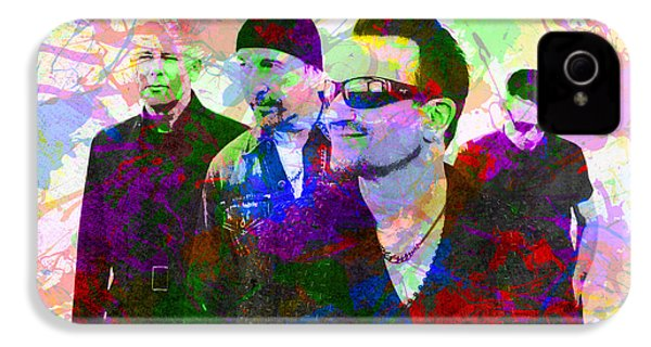 U2 Band Portrait Paint Splatters Pop Art IPhone 4 Case by Design Turnpike