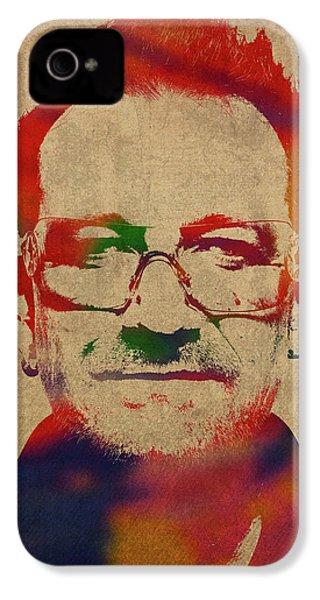 U2 Bono Watercolor Portrait IPhone 4 Case