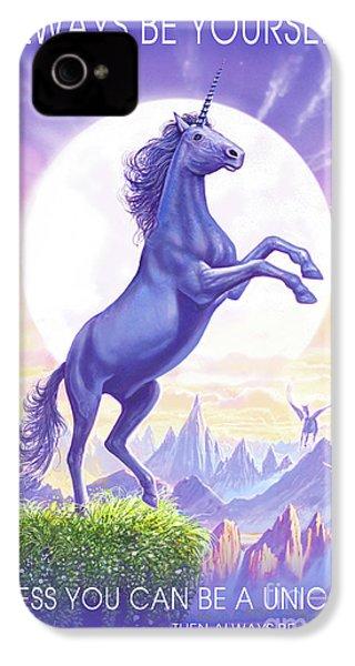 Unicorn Moon Ravens IPhone 4 Case by Steve Crisp