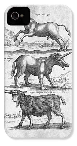 Unicorns Historiae Naturalis 1657 IPhone 4 / 4s Case by Aged Pixel