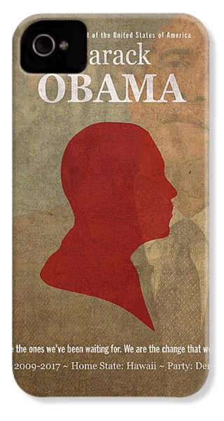 United States Of America President Barack Obama Facts Portrait And Quote Poster Series Number 44 IPhone 4 Case by Design Turnpike