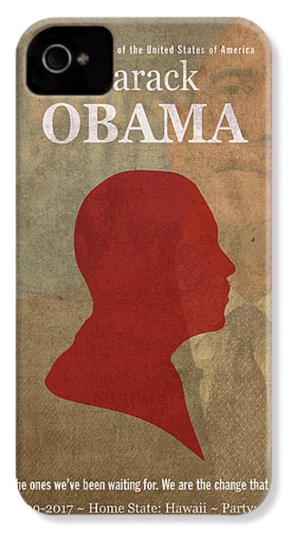 United States Of America President Barack Obama Facts Portrait And Quote Poster Series Number 44 IPhone 4 Case