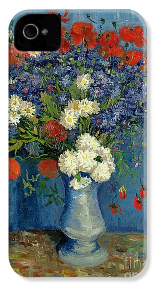 Vase With Cornflowers And Poppies IPhone 4 Case by Vincent Van Gogh