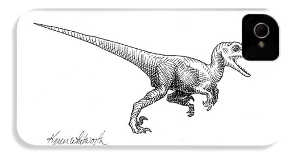 Velociraptor - Dinosaur Black And White Ink Drawing IPhone 4 / 4s Case by Karen Whitworth