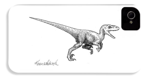 Velociraptor - Dinosaur Black And White Ink Drawing IPhone 4 Case by Karen Whitworth