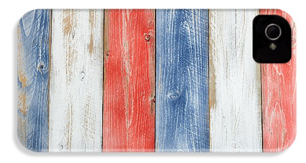 Vertical Stressed Boards Painted In Usa National Colors IPhone 4 Case by Thomas Baker