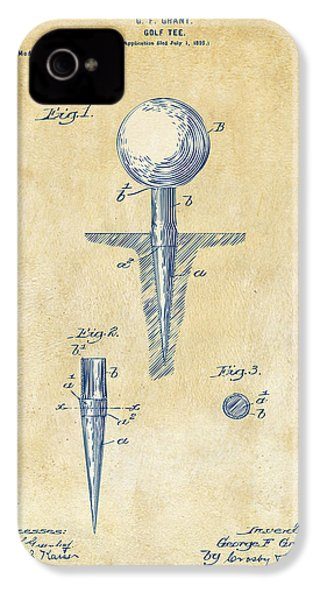 Vintage 1899 Golf Tee Patent Artwork IPhone 4 Case