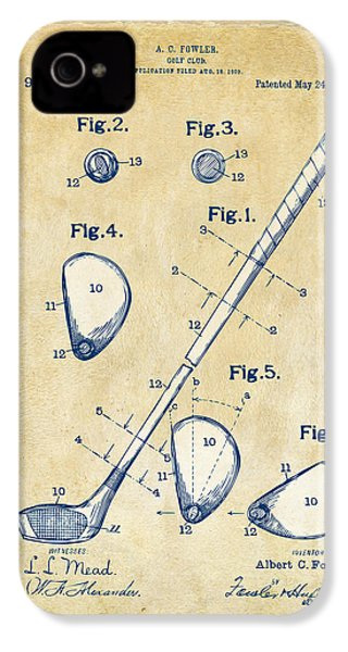 Vintage 1910 Golf Club Patent Artwork IPhone 4 Case