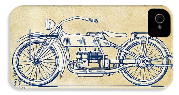Vintage Harley-davidson Motorcycle 1919 Patent Artwork IPhone 4 / 4s Case by Nikki Smith