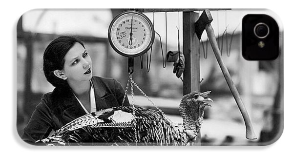 Vintage Holiday Card   Woman Weighing A Turkey Ahead Of The Holidays IPhone 4 / 4s Case by American School