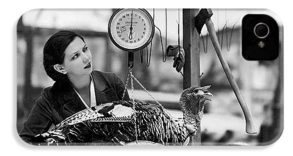 Vintage Holiday Card   Woman Weighing A Turkey Ahead Of The Holidays IPhone 4 Case by American School