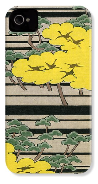 Vintage Japanese Illustration Of An Abstract Forest Landscape With Flying Cranes IPhone 4 Case by Japanese School