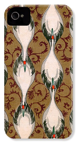 Vintage Japanese Illustration Of Cranes Flying IPhone 4 Case by Japanese School