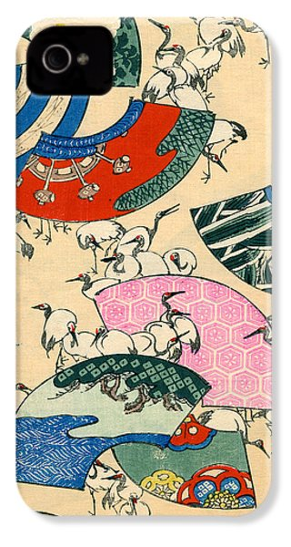 Vintage Japanese Illustration Of Fans And Cranes IPhone 4 Case by Japanese School