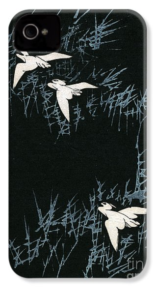 Vintage Japanese Illustration Of Three Cranes Flying In A Night Landscape IPhone 4 Case by Japanese School