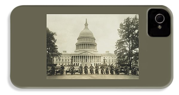 Vintage Motorcycle Police - Washington Dc  IPhone 4 Case by War Is Hell Store