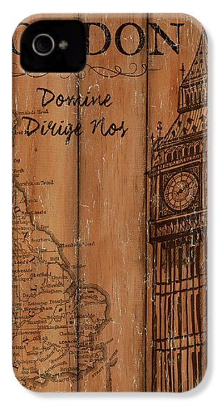 Vintage Travel London IPhone 4 Case by Debbie DeWitt