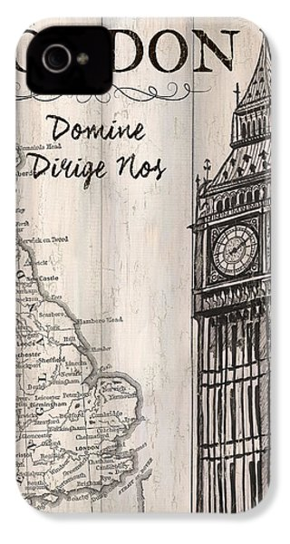 Vintage Travel Poster London IPhone 4 Case by Debbie DeWitt