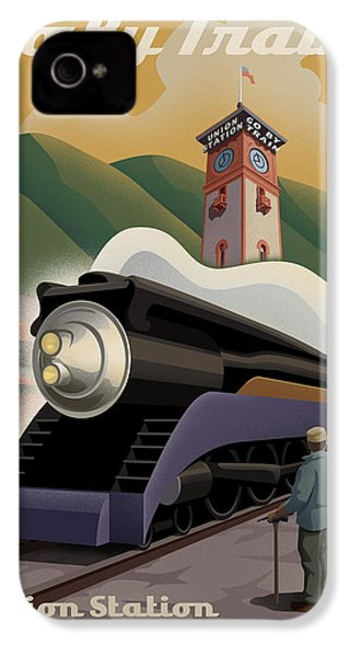 Vintage Union Station Train Poster IPhone 4 Case by Mitch Frey