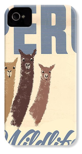 Vintage Wild Life Travel Llamas IPhone 4 Case by Mindy Sommers