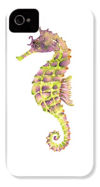 Violet Green Seahorse - Square IPhone 4 Case by Amy Kirkpatrick