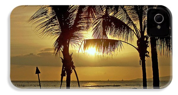 IPhone 4 Case featuring the photograph Waikiki Sunset by Anthony Baatz