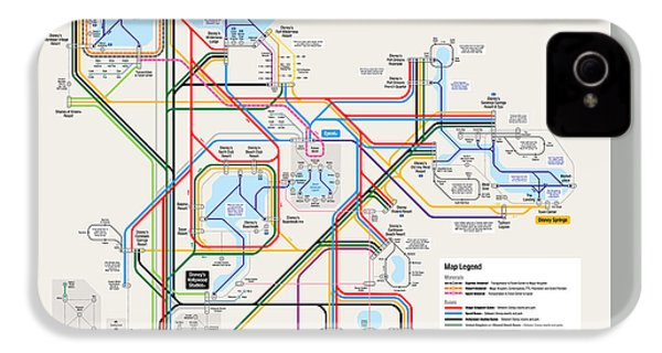 Walt Disney World Resort Transportation Map IPhone 4 / 4s Case by Arthur De Wolf